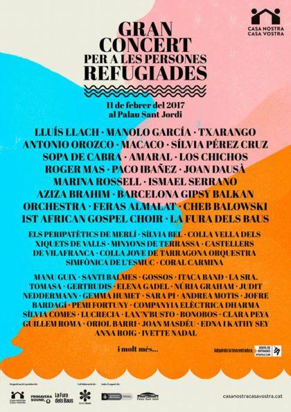 La Colla Vella dels Xiquets de Valls al Concert per les persones refugiades